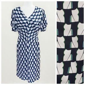 Lewit Navy & White Pattern Dress Sz. 8